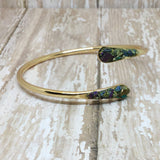 Raw Peacock Ore Stone Bangle Cuff Bracelet Gold Plated - Bracelets -Glam Geek