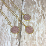 Pink Glitter and Gold Necklace - Necklace -Glam Geek