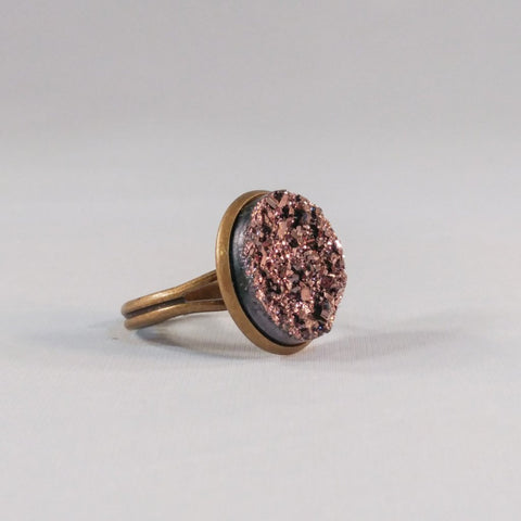 Large Adjustable Faux Druzy Statement Ring 16mm - Rings -Glam Geek