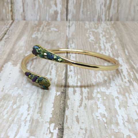 Crushed Raw Peacock Ore Stone Bangle Cuff Bracelet Gold Plated - Bracelets -Glam Geek