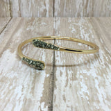 Raw Pyrite Bangle Cuff Bracelet Gold Plated - Bracelets -Glam Geek