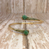 Raw Emerald and Pyrite Bangle Cuff Bracelet Gold Plated - Bracelets -Glam Geek
