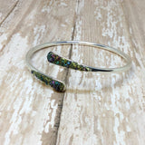 Raw Peacock Ore Stone Bangle Cuff Bracelet Silver Plated - Bracelets -Glam Geek