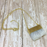 White Quartz Slab/Slice Pendant with Gold Plated Top - Pendants -Glam Geek