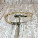 Raw Pyrite Bangle Cuff Bracelet Gold Plated - Glam Geek