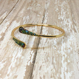 Raw Peacock Ore Stone Bangle Cuff Bracelet Rose Gold Plated - Bracelets -Glam Geek