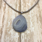 Grey Agate Druzy Necklace on Faux Suede Cord - Pendants -Glam Geek