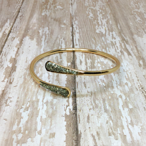 Raw Pyrite Bangle Cuff Bracelet Rose Gold Plated - Bracelets -Glam Geek