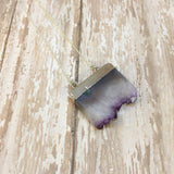 Amethyst Slab/Slice Pendant with Silver Plated Top - Pendants -Glam Geek