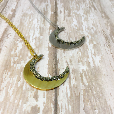 Raw Pyrite Crescent Moon Gold or Silver Plated Necklace - Necklace -Glam Geek