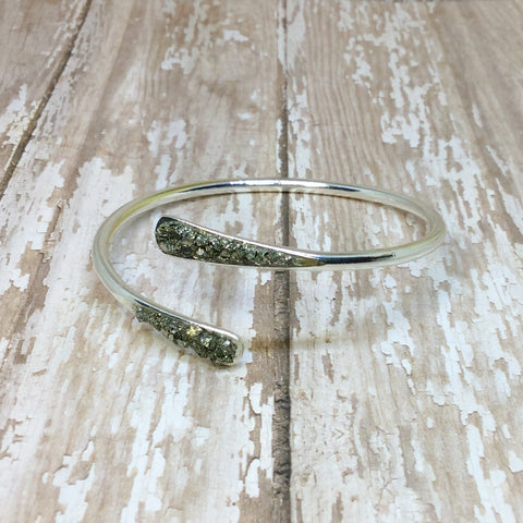 Crushed Raw Pyrite Bangle Cuff Bracelet Silver Plated - Bracelets -Glam Geek