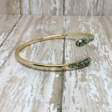 Crushed Raw Pyrite Bangle Cuff Bracelet Gold Plated - Bracelets -Glam Geek