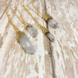Small Crystal Quartz Minimalist Boho Pendant Necklace - Pendants -Glam Geek