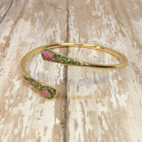Raw Ruby and Pyrite Bangle Cuff Bracelet Gold Plated - Glam Geek
