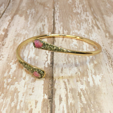Raw Ruby and Pyrite Bangle Cuff Bracelet Gold Plated - Bracelets -Glam Geek
