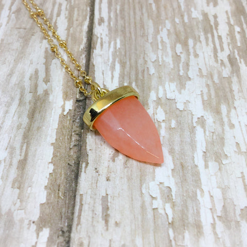 Orange Agate Pointed Stone Pendant - Pendants -Glam Geek