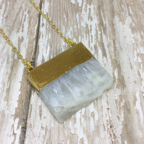 White Quartz Slab/Slice Pendant with Gold Plated Top - Glam Geek