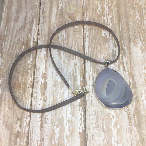 Grey Agate Druzy Necklace on Faux Suede Cord - Glam Geek