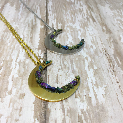 Raw Peacock Ore Crescent Moon Gold or Silver Plated Necklace - Necklace -Glam Geek