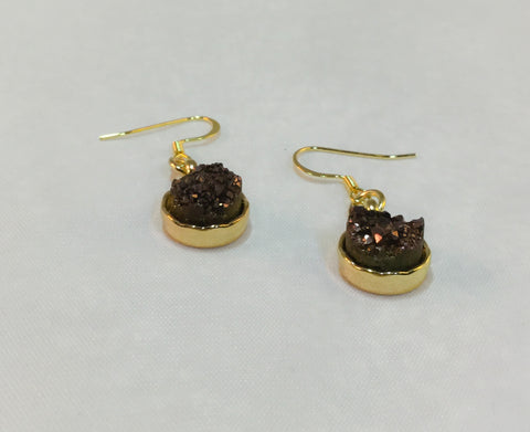 Raw Natural Round Brown Druzies Druzy on Bright Gold Tone Settings - Dangle Earrings -Glam Geek