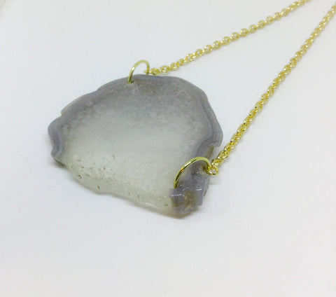 Large Raw Natural Grey and White Agate Slice Slab Pendant Necklace on Gold Chain - Glam Geek