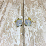 White Opal Crystal Square Drop Dangle Earrings - Dangle Earrings -Glam Geek