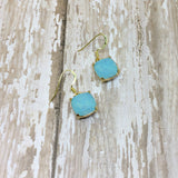 Turquoise Opal Crystal Square Drop Dangle Earrings - Dangle Earrings -Glam Geek