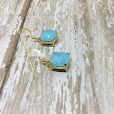 Turquoise Opal Crystal Square Drop Dangle Earrings - Glam Geek