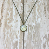 Small Round Druzy Pendant Necklace with Chain - Pendants -Glam Geek