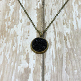 Small Round Druzy Pendant Necklace with Chain - Glam Geek