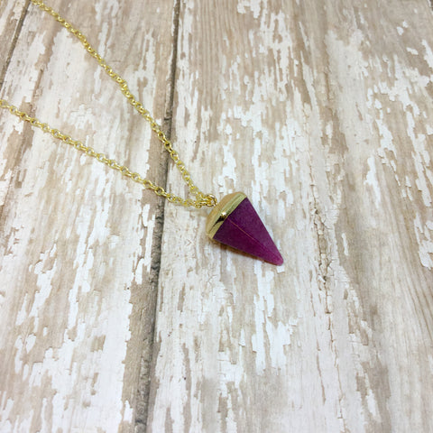 Pink Purple Pyramid Amethyst with Gold Plate - Pendants -Glam Geek