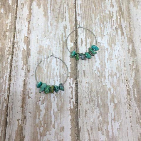Turquoise Minimalist Boho Hoop Drop Earrings - Dangle Earrings -Glam Geek
