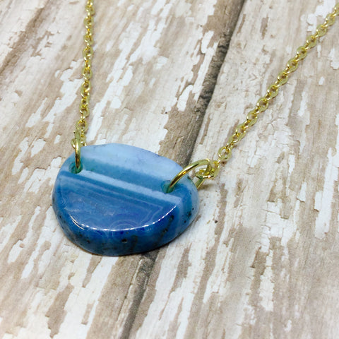 Small Raw Blue and White Agate Slice Slab Pendant Necklace on Gold Chain - Pendants -Glam Geek