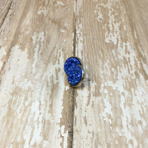 Blue Faux Druzy Stud Earrings 12mm - Stud Earrings -Glam Geek