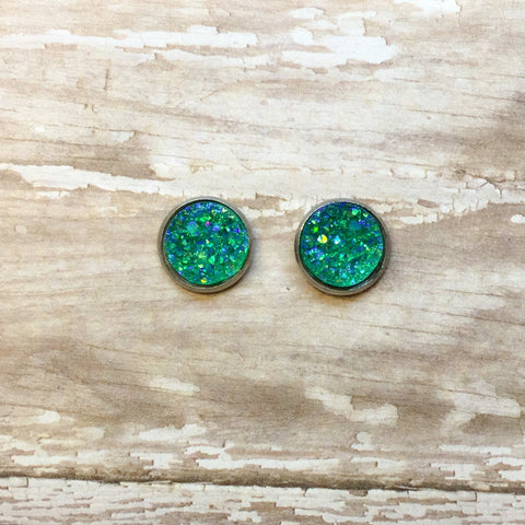 Aurora Borealis Teal Faux Druzy Stud Earrings 12mm