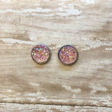 Light Pink Faux Druzy Stud Earrings 12mm - Stud Earrings -Glam Geek