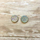 Clear Faux Druzy Stud Earrings 12mm - Stud Earrings -Glam Geek
