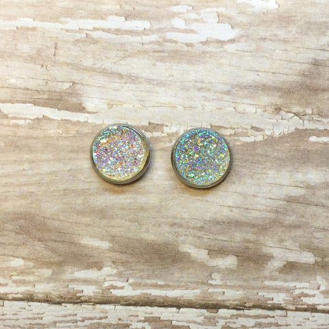 Aurora Borealis Clear Faux Druzy Stud Earrings 12mm