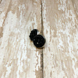 Black Faux Druzy Stud Earrings 12mm - Stud Earrings -Glam Geek