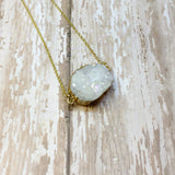 White Druzy Nugget Pendant with Gold Plated Back - Pendants -Glam Geek