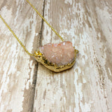Peach Druzy Nugget Pendant with Gold Plated Back - Glam Geek