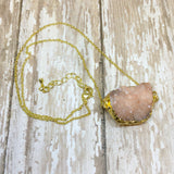 Peach Druzy Nugget Pendant with Gold Plated Back - Pendants -Glam Geek