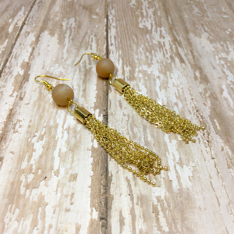 Peach Druzy and Bright Gold Tassel Fringe Boho Earrings - Glam Geek