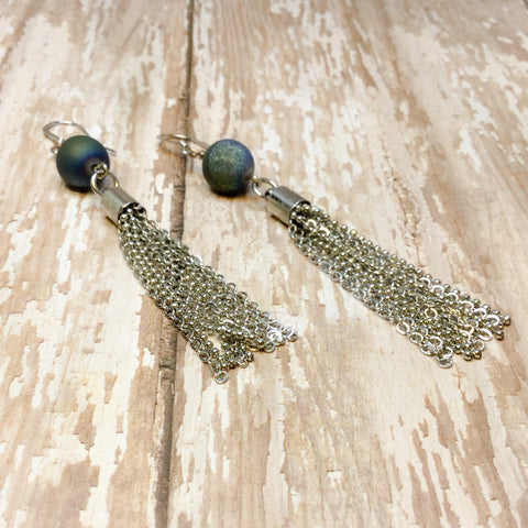 Blue Druzy and Silver Tassel Fringe Boho Earrings - Glam Geek