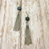 Blue Druzy and Silver Tassel Fringe Boho Earrings - Dangle Earrings -Glam Geek