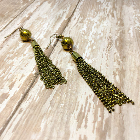 Round Sparkly Gold Druzy and Antique Gold Tassel Fringe Boho Earrings - Dangle Earrings -Glam Geek