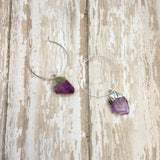 Raw Amethyst Stones on Silver Plated Hoops - Dangle Earrings -Glam Geek