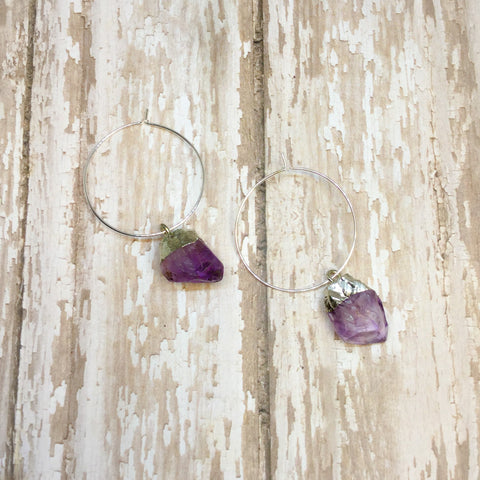 Amethyst Silver Plated Rough Raw Stone Nuggets on Hoops - Dangle Earrings -Glam Geek