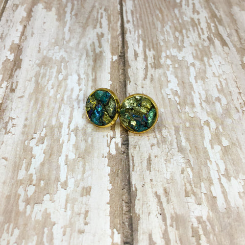 Raw Peacock Ore Earrings in Gold Plated Settings - Stud Earrings -Glam Geek