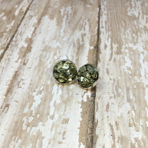 Crushed Raw Pyrite Stud Earrings in Silver Plated Settings - Stud Earrings -Glam Geek